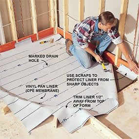 Install the shower pan liner.