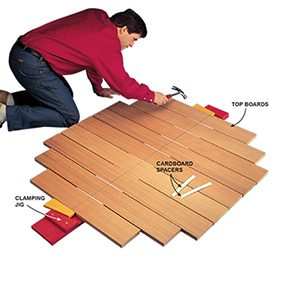 Photo 5 shows how to assemble boards for the top of the picnic table.