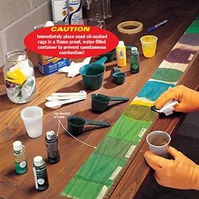 Before you stain the furniture, practice on a scrap piece.