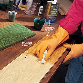 For oil-based stains, wet the furniture with mineral spirits just before staining.