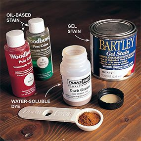 Stain furniture with either oil, gel or water-soluble stain.