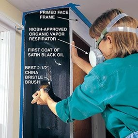 Photo 10 shows how to brush on the first coat as you refinish the kitchen cabinets.