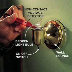 Checking for the presence of voltage in and around the lamp holder with a non-contact voltage detector when removing a broken light bulb.