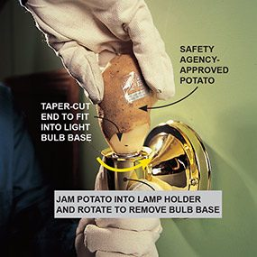 Using a potato to unscrew a broken light bulb from a screw-shell fixture when removing a broken light bulb.