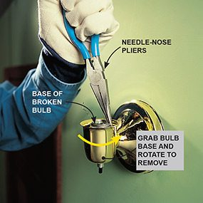 Using a needle-nose pliers to unscrew a broken light bulb from a screw-shell fixture when removing a broken light bulb.