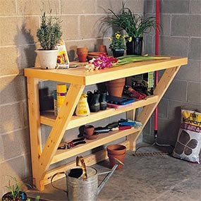 The wood work bench can also be used as a potting bench.