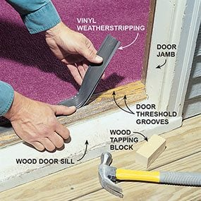 Replace a torn weatherstripping bulb on the door threshold.