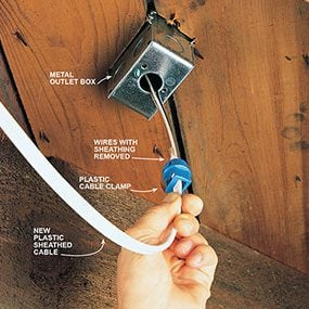 Photo 6 shows how to attach the new cable to the floor outlet box.