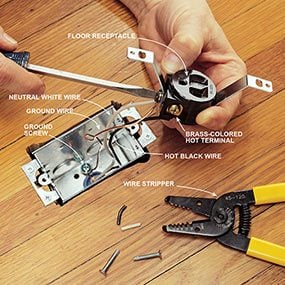 Complete the wiring for the floor outlet.