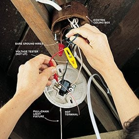 Check for live wires before attaching the floor outlet wires to a power source.