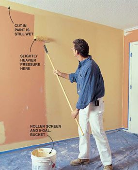 Photo 12: Cut in and roll the walls