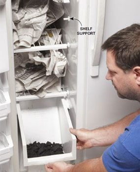 Absorb stinky fridge odor with newspaper and charcoal
