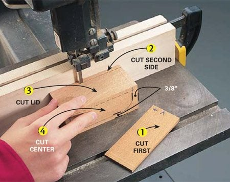 <b>Band saw cutting order</b></br> Cut the sides and lid with a guide. Then freehand cut the center.