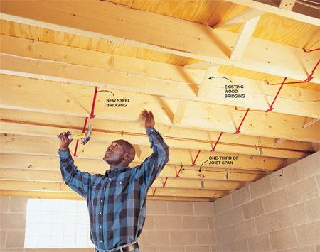 "<b>Easy to do; modest improvement</b></br> Bridging cuts ""deflection"" (how much the joists flex) by about 50 percent. It's easy and inexpensive to install ($1 per joist for two rows of bridging), but it's not as effective as other solutions."