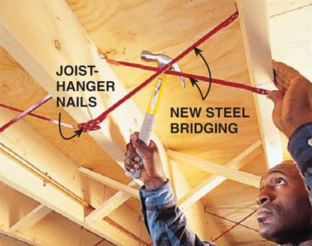 <b>Attach the bridging</b></br> Fasten metal bridging with 1-3/8-in. joist hanger nails. Each piece of bridging requires four nails, two at each end.