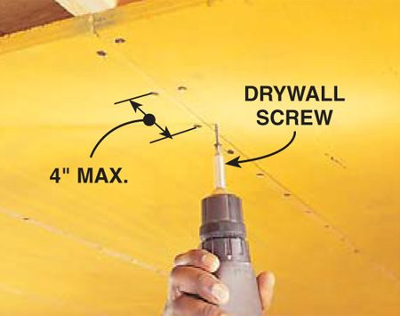 <b>Screw plywood to the joists</b></br> Drive 1-1/2-in. drywall screws through the plywood and into joists. The screws should be no more than 4 in. apart.