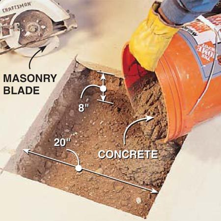 <b>Add a deep footing for each post</b></br> Pour a footing for each post by first cutting a 20 x 20-in. hole through the concrete floor using a circular saw and masonry blade. Wear eye protection and a dust mask when cutting concrete. Then dig the hole 8 in. deep and fill it with concrete.