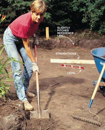 <b>Photo 3: Excavate the patio</b></br> Dig out the patio area to a depth of about 10 in. below the finished patio level. Measure from the string to gauge the depth. Hold a level on an 8-ft. straightedge to check areas on both sides of the string.