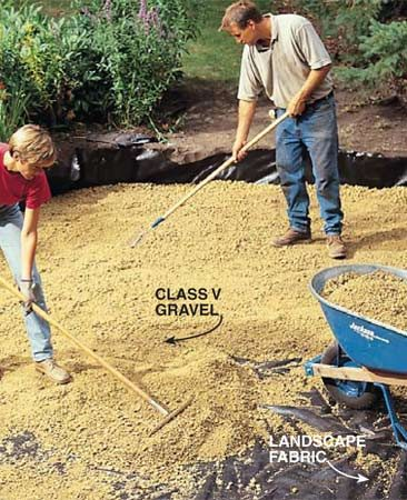 <b>Photo 4: Spread landscape fabric and gravel</b></br> Cover the ground with landscape fabric after tamping it with the plate compactor. Then spread a 2-in. layer of gravel over the top.