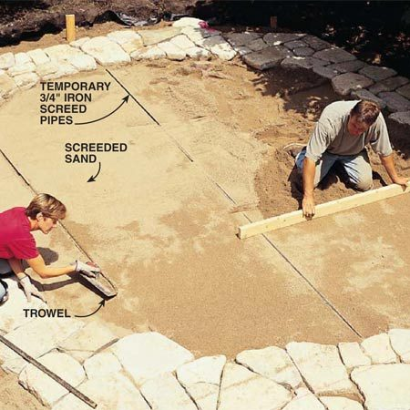 <b>Photo 10: Lay in a bed of sand</b></br> Set 3/4-in. iron pipes in long mounds of sand using the same procedure shown in Photo 6. Set the top of the pipes high enough so that when the bricks are set on the sand bed, they'll protrude above the stones about 3/8 in. Dump sand between the pipes and drag a straight 2x4 across the pipes to level it. Remove the pipes and fill the trenches. Use a trowel to level the sand in the nooks and crannies around the perimeter.