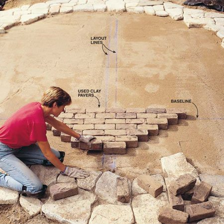 <b>Photo 12: Lay bricks along layout lines</b></br> Lay a row of bricks along the baseline, aligning the end of the first brick with the perpendicular layout line. Butt them tightly together. Lay another row, aligning the end of the first brick with the second line. Continue laying bricks until one section is complete. Then work out from this section to complete the patio.