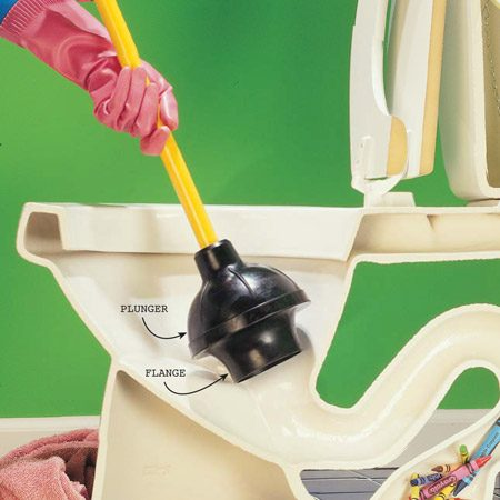 <b>Photo 1: Grab the plunger</b></br> Plunge the toilet with the rubber flange pulled out to get a better seal. Push in and out vigorously, keeping enough water in the bowl to cover the plunger. Keep towels handy to wipe up water that splashes out.