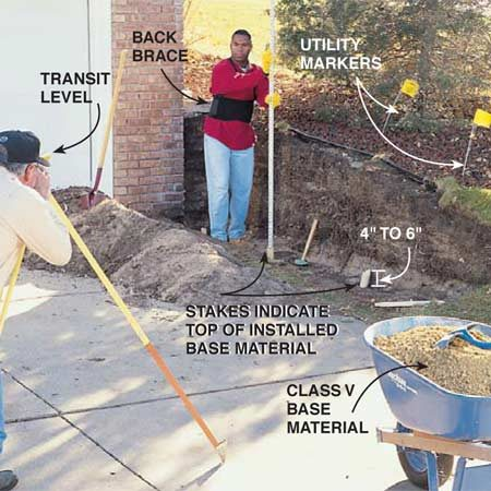 <b>Photo 1: Excavate and level the base</b></br> Excavate and level the area where you'll be installing the wall. Use a transit or a 4-ft. level taped to a straight 2x4 to establish a common stake height, indicating the top of your sand leveling bed (see Fig. A). Create a flat area at least 4 to 6 in. deep and 24 to 28 in. wide for installing compactable base material. Provide a clear area of at least 12 in. behind the wall for installing the crushed rock as shown in Photo 8.