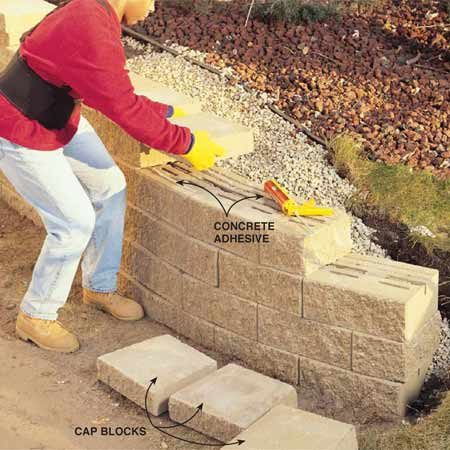 <b>Photo 9: Finish with special cap blocks</b></br> Install the cap blocks using two 1/4-in. beads of concrete adhesive to secure them in place. Cap blocks can be positioned with a slight overhang or backset, or set flush with the wall face.