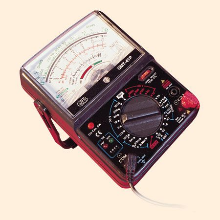 A multimeter gives you a variety of readings,<br/> depending on the setting.