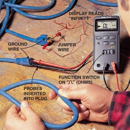 "<b>Photo 2: Testing a broken extension cord</b></br> <p>Check for a broken wire or bad plug connection in an extension cord by bending the cord along its length.<br/> Function setting: Ohms. <br/> Scale setting: Auto-ranging. <br/> Test probes: Connect the prongs together at one end of the cord with a jumper wire, creating a closed circuit. Insert the testing probes in the other end to complete the circuit, and then turn on the multimeter. Don't forget a second test to check along the safety ground wire too. <br/> Good reading: A ""0.00"" reading would indicate ""zero""—a closed circuit. <br/> Bad reading: This ""0.L."" reading indicates ""infinity""—an open circuit. This cord has a broken wire or loose connection.</p>"