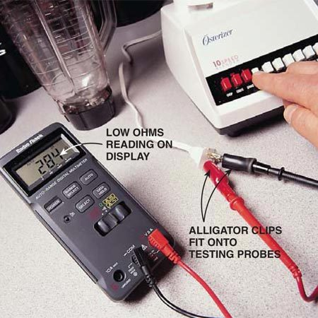 "<b>Photo 4: Check household appliances</b></br> <p>Troubleshoot a food blender that isn't running or is running sluggishly by testing the blender's switch block. UNPLUG the blender, set up the VOM and probes, and push each of the blender's speed switches.<br/> Function setting: Ohms (resistance). <br/> Scale setting: Auto-ranging. <br/> Test probes: Attach alligator clips (a must-have accessory) to the testing probes, connect the clips to the power plug, and turn on the VOM. <br/> Good reading: This low reading (28.4 ohms) indicates a good switch. Check the manufacturer's specification for the ""good"" reading on your blender. <br/> Bad reading: A ""0.L."" reading (""infinity"") indicates a switch that's dirty or defective.</p>"