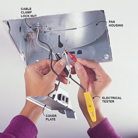 <b>Photo 2: Disconnect the wiring</b></br> Remove the electrical cover plate. Carefully slide out the wires and remove the wire connectors. Turn on the fan switch (on the wall) and test the wires with a voltage tester <em>to make sure the power is off</em>. Untwist the wires. Remove the lock nut from the cable.