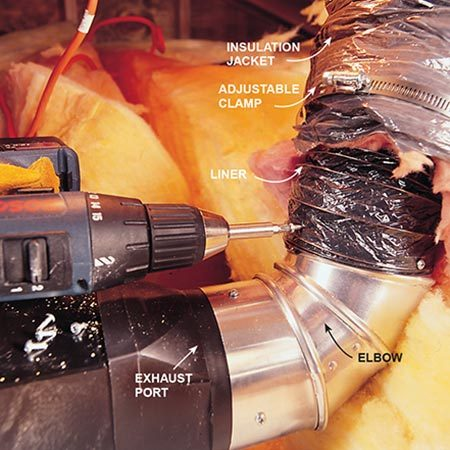 <b>Photo 6: Attach the duct</b></br> Screw the 4-in. aluminum elbow to the fan's exhaust port using three 3/8-in. self-tapping Phillips sheet metal screws. Take care not to hamper the damper flap inside. Then slide out the inner liner of the flexible ductwork, gather three or four of the metal rings and use three more screws to attach the liner to the elbow.