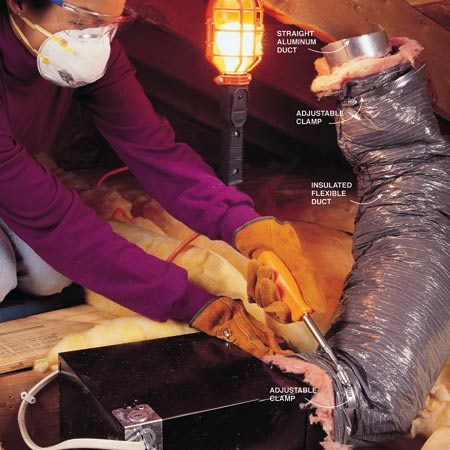 <b>Photo 7: Secure the insulation</b></br> Pull down the insulation jacket and tighten the 6-in. metal clamp at the elbow. Cut the duct to length with a utility knife and wire cutters and attach a 6-in. piece of straight aluminum pipe to the end with screws and a clamp, leaving about 3 in. of metal exposed. Using metal snips, cut the 3-in. exposed end of the aluminum pipe at an angle to match the roof pitch.