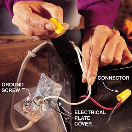 <b>Photo 8: Connect the wiring</b></br> Remove the plate at the electrical splice box and pull out the fan wires. Push the electrical cable through the hole provided and anchor it with a cable clamp. Twist together the electrical wires (white to white and red or black to black) and install the connectors. Attach the bare copper wire to a ground clip or a screw on the plate. Fold the wires back into the electrical box on the housing and replace the cover.