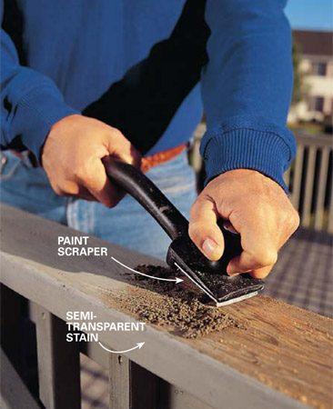 <b>Photo 1: Scrape off the stain</b></br> Scrape the old finish residue off your deck railing and decking if you have an old semitransparent or solid color stain. The finish will flake off easily. Don't get bogged down with details; the deck stripper will get the rest.