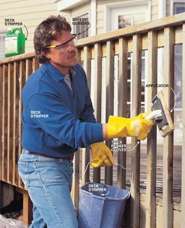 <b>Photo 3: Strip railings first</b></br> APPLY the stripper with a paint applicator or a brush. Keep the surface moist; don't get ahead of yourself. Work only a 6-ft. section of deck railing at a time so the stripper won't evaporate before you can scrub and scrape it.