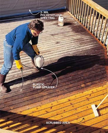 <b>Photo 6: Clean the deck</b></br> Spray the deck surface with deck cleaner the day after you've completed the railing. Also apply the deck cleaner to the railing with a sprayer, because the stripper may have darkened the wood. The cleaner will bring the stripped surfaces back to a fresh, bright wood look.