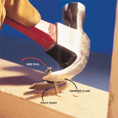 <b>Photo 1: Side pull with hammer claw</b></br> Ram the claw of your hammer into the nail shank and rock it sideways using the claw edge as a pivot point. Repeat the process until you pry out the nail. This technique produces maximum pulling power with little stress on the handle.