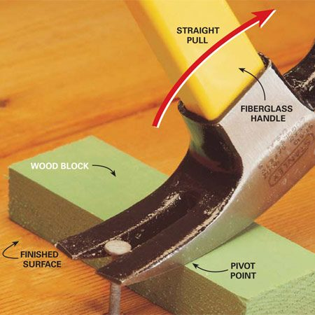 <b>Photo 2: Use a block to protect finished surfaces</b></br> Rest the hammer on a small block to protect finished surfaces. For a straight pull, size the block so the pivot point is as close to the nail as possible.