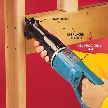 <b>Photo 5: Cut hard-to-reach nails</b></br> For maximum speed, cut the nails with a reciprocating saw equipped with a 10-teeth-per- inch all-purpose blade. It's ideal for rough work and demolition.