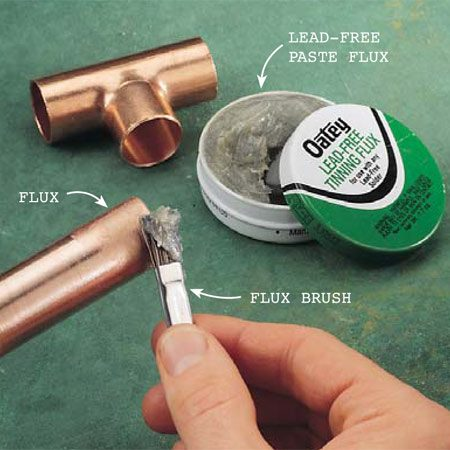 <b>Photo 5: Flux the joint</b></br> Brush an even layer of flux over the surfaces to be joined—the pipe ends and the insides of the fittings. Then push the joint together until the copper tube seats full depth.  Wipe off excess flux.