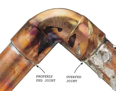 <b>Photo 9: Avoid applying too much solder</b></br> Avoid overfeeding the joint. About 1/2 in. of solder is enough for a 1/2-in. copper joint, 3/4 in. of solder for a 3/4-in. copper joint. Overfeeding can clog the tube.