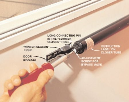 <b>Seasonal adjustment</b></br> Make adjustments to your storm door closer twice a year when you exchange the screens and glass storm panels. Move the long connecting pin into the forward hole (for winter) or rear hole (for springtime) of the closer each time you change the storms or screens. If necessary, adjust the pressure control screw on the closer as well.