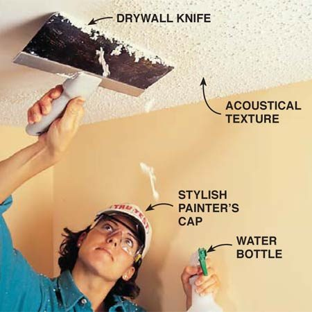 <b>Scrape a textured ceiling with a drywall knife</b></br> Round the corners on a drywall knife and use it to scrape the texture off acoustical or popcorn ceilings.