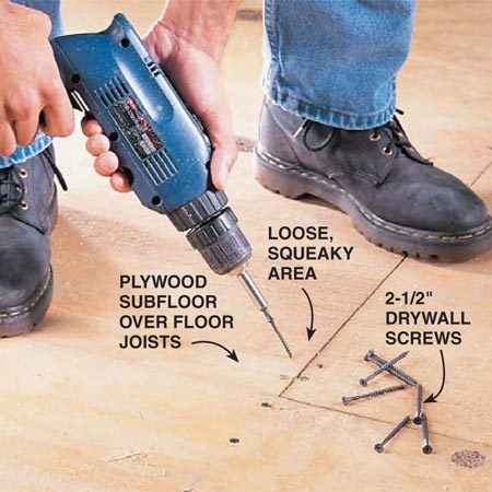<b>Photo 3: Eliminate squeaks</b></br> Fix those squeaks. Screw down loose flooring with 2-1/2 in. drywall screws to eliminate squeaks. Angle screws at butt joints to make sure screws don't miss the floor joists.