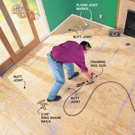 <b>Photo 4: Add underlayment</b></br> Install additional plywood underlayment if needed. Alternate 1/2-in. underlayment end joints at least two floor joists away from the end joints of the subfloor and from each other as well. Mark floor joist locations on the walls so you can find them after the underlayment is in. Tack the sheets with 8d nails and use the floor joist marks to snap chalk lines for nailing. Nail every 6 in. with 2-3/8 in. ring shank nails.