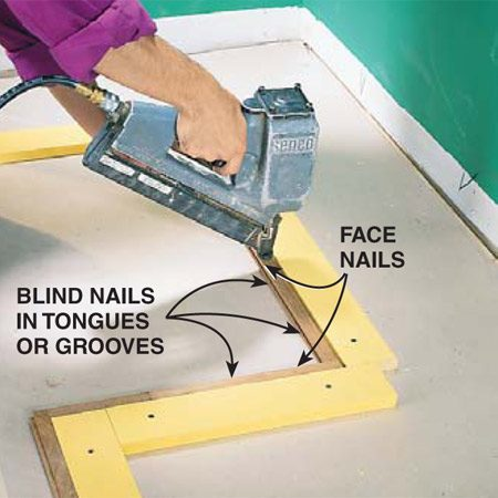 <b>Photo 9: Nail the border</b></br> <p>Install the outside border strip around the  room by face-nailing and blind-nailing (see Photo 10) to the underlayment.  Orient the first border with the tongues facing the field (see Photo 12).  Orient the left side border (the French door side) with the grooves facing the  field, and the opposite border with the tongues facing the field. The border at  the far end of the room will have the grooves facing the field. </p>