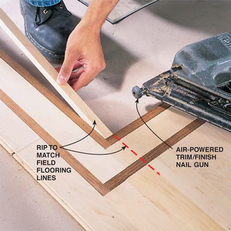 <b>Photo 14: Match flooring lines</b></br> Rip flooring to width on a table saw when necessary to keep field flooring lines consistent through the borders.
