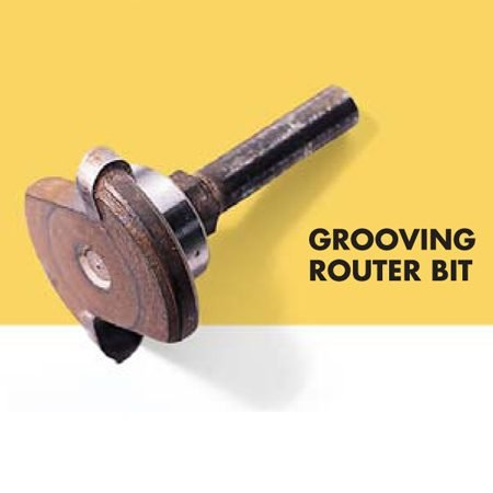 <b>Photo 15A: Grooving bit</b></br> You can buy a special router bit that cuts grooves that match the grooves in the flooring.